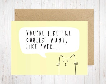 Coolest Aunt / Printable A6 / For Aunt Card / Mother's Day Card / Aunt Mother's Day Card / Cat Card