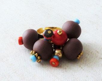 Golden ring beads Brown, blue, orange, Bohemian glass, heishi beads