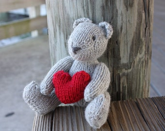 Knit Teddy Bear, Bear With Heart, Wool Bear, Small Toy, Handmade Bear, Stuffed Animal, Toy Bear, Kids Toy, Handmade Teddy Bear