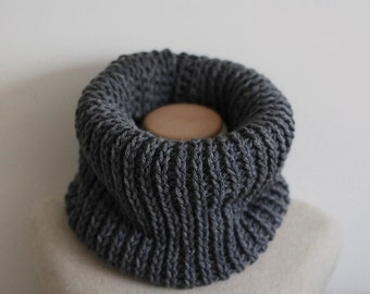 Gray infinity scarf, gray knit cowl, vegan scarf, vegan clothing, circle scarf, tube scarf, knit infinity scarf, crochet infinity scarf