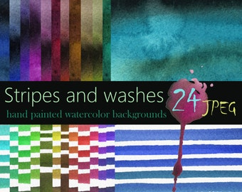 Watercolor Stripes and Washes 24 Backgrounds 12x12' Digital Design Paper Clipart For Instant Downloading Free (No Credit) Commercial Use