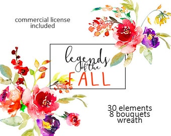 Red Flowers Watercolor Clipart Set Hand Painted Scarlett Red Fall Wedding Floral Clip Art Collection for DIY Invitation Free Commersial Use