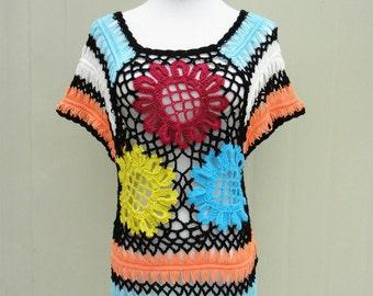 Boho Crochet Floral Womens Blouse Top Short Sleeve