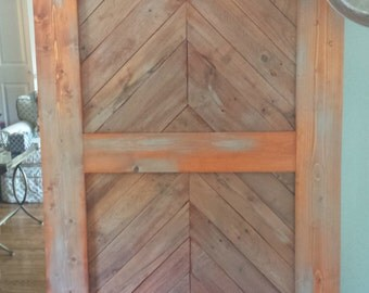 Sliding barn door herringbone oak