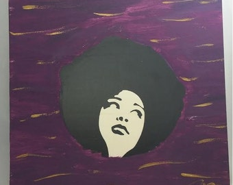 African American Woman with Afro Mixed Medium Artwork