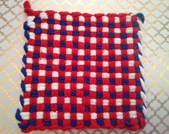 Red, White and Blue Woven Potholder