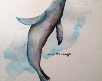 Sea Lion Watercolor Painting