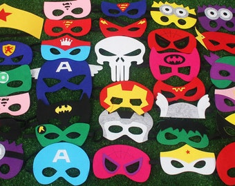Set of 5,6,7-18 - Super hero Masks, Superhero Party Photo Booth Props, Star Wars,  Avengers, Superhero Party, Superhero Birthday Party