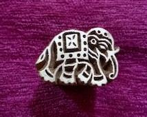 Elephant motif Wood Stamp, Textile Stamp, Pottery stamp hand carved fabric stamps, soap stamps, tjaps, batik stamp