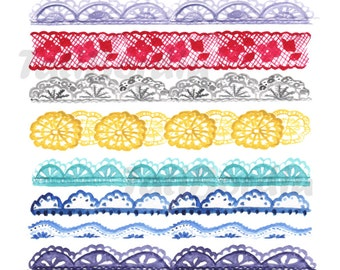 Lace Watercolor Borders Clip Art (clipart)