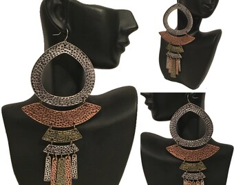 Burnished Gold, Silver & Copper Hammered Tribal Dangle Earrings