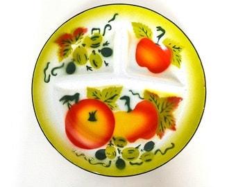 vintage enamel fruit plate apple plate enamel picnic plate