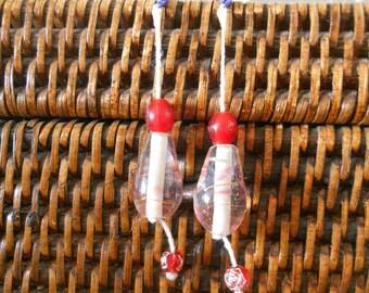 Red dangling earrings