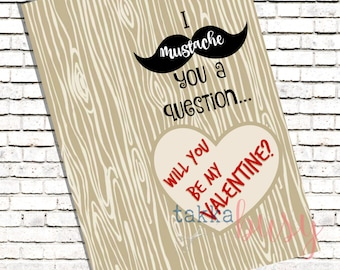 Mustache Be My Valentine Printable Digital Valentine Backer Card