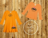 Monogram Cute Spider Halloween Fall Dress and Long Sleeve Tee Embroidered
