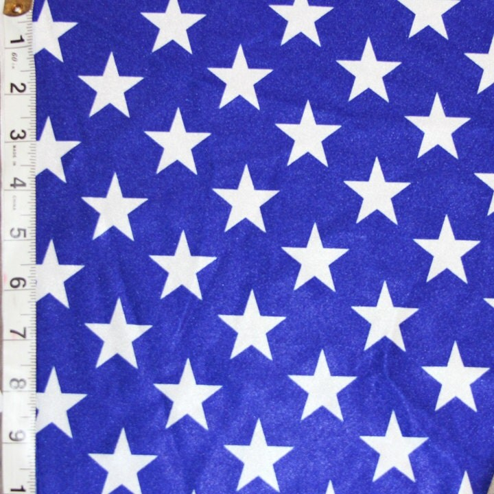 Royal blue white star shiny polyester spandex lycra fabric for Star fabric australia