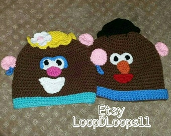Mr and Mrs Potato Head inspired hat beanie