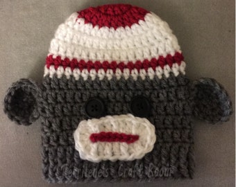 Sock Monkey - Classic = Cast Cozy/Cast Sock/Toe Cover = Ready to ship.