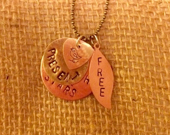 Hand stamped mixed metal necklace