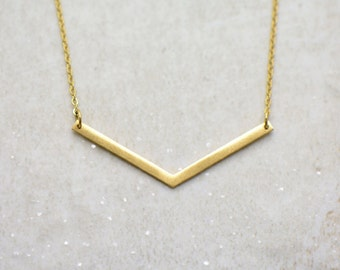 Chevron Necklace, Brushed 24k Gold Plated Stainless Steel, Dainty Minimal V Layering Layered Long Necklaces