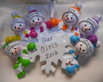 6 family snowflake ornament// personalized christmas ornament// family of 6 snowflake// christmas ornament