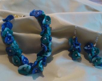 Ornament bracelet, earrings blue/green
