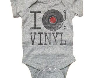 Vintage Baby I Love Vinyl Rib Lap Shoulder Bodysuit