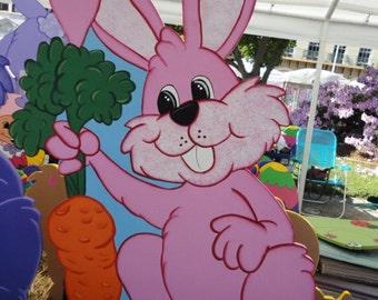 Easter Bunny Pulling a Carrot Yard Art Lawn Decoration