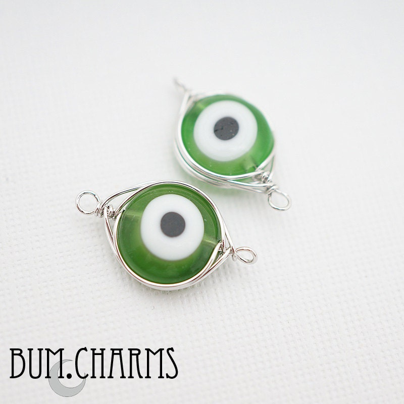 f0037 pre wired glossy original rhodium plated evil eye wire wrapped green white