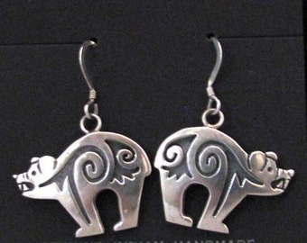 1970s Native American Hopi Made Overlay Earrings with Bear