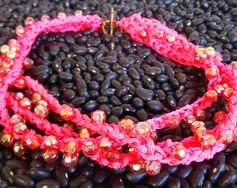 Shocking Pink Crochet and beaded necklace