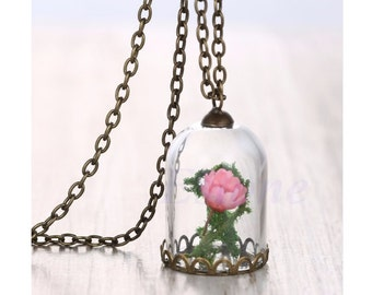 Dried Flowers in a Glass Vial Necklace
