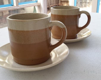 Retro mug and saucer, set of 2