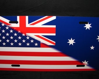 AUSTRALIAN AMERICAN FLAG Metal Car License Plate