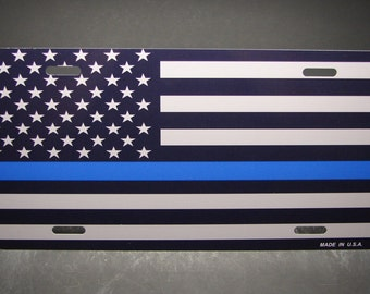 THIN BLUE LINE Police metal aluminum novelty car license plate tag American Flag