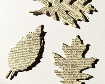45 paper leaves, paper craft, card making , die cut from vintage 1930's Dictionary