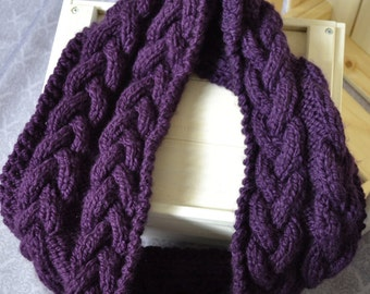 Knitted cables chunky infinity purple scarf, comfy and warm for winter and spring - cozy fashion for her - women winter wear