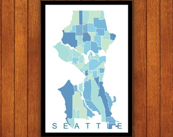 Seattle Map, Neighborhoods Print