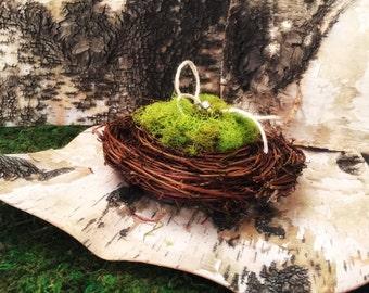 Ring bearer pillow, rustic ring holder, wedding ring holder, ring nest