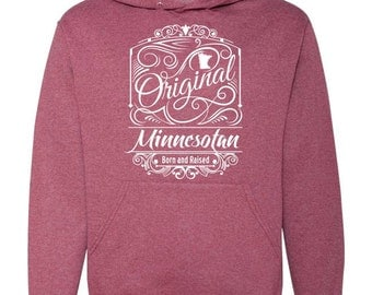 Vintage burgundy hood sweatshirt with Original Minnesotan design in white vinyl