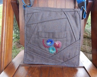 Brown with Turquoise Satchel Bag/Knitting/Craft Bag - Recycled Suit Coat!