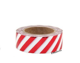 A masking tape 10 m / washi tape (adhesive tape) metalisees stripes rouges1.5cm x 10 m
