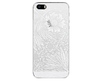 White flower iPhone 7/8/X iPhone SE case clear floral iPhone 6/7/8 Plus Samsung Galaxy S7 S5 S6 S8 iPhone 5 cover clear iPhone 6 iPhone case