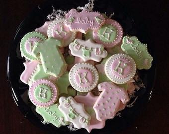Baby Girl Shower Cookies - 2 Dozen