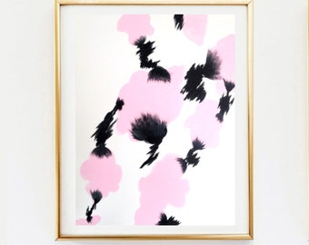 """Pink and Black Abstract Painting (16"""" x 20"""")"""