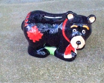 SALE 5 Dollars Piggy Bank Coin Vintage Black Bear Ceramic Hand Painted Maple Leaf Red Canada Souvenir