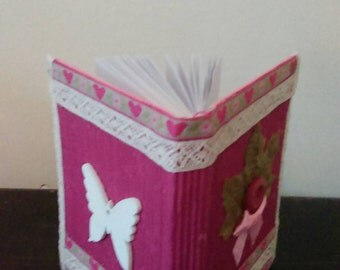 A7 handcrafted pink journal