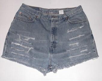 "HALF OFF! Levi's 550 High Waisted Denim Blue Jean Cut-Off Shorts 32"""
