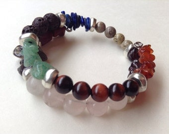 Mixed gem stone bracelet