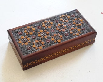 Carved Wooden Box featuring Sunflower Motif